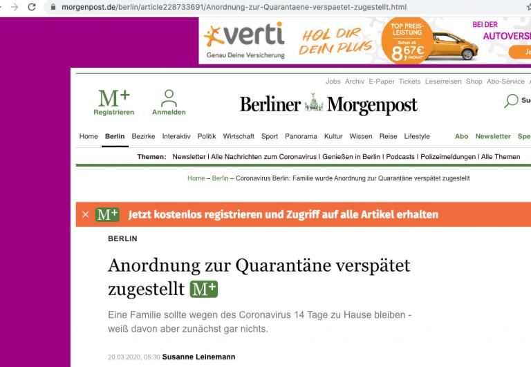 Berliner Morgenpost, 20.03.2020